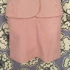 Loft Red and White Striped Pencil Skirt Size 0P