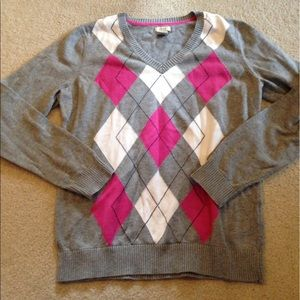 Izod Sweaters - Pink and gray argyle sweater