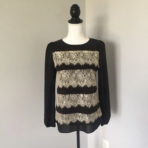 Anthropologie Tops - Anthropologie A'reve Black and Cream Lace Blouse