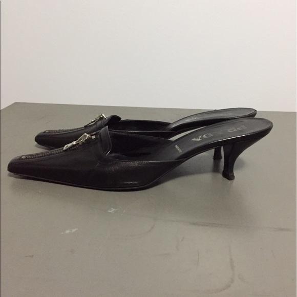 prada prada kittenheel pointed heels wzipper from