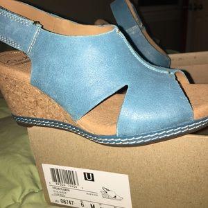 Clarks Shoes - Clarks Blue Suede Wedge soft cushion Sandal
