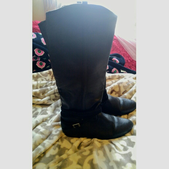Shoes - Tall Black Buckled Boot