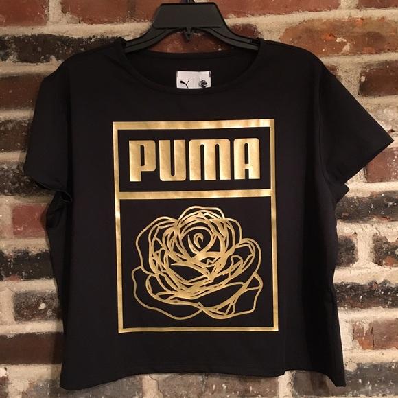 d12daa74 Puma Tops | Golden Rose Graphic Cropped Tee | Poshmark