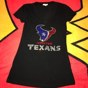 Zenana Outfitters Tops - Blingy HOUSTON TEXANS V-neck top Size Small