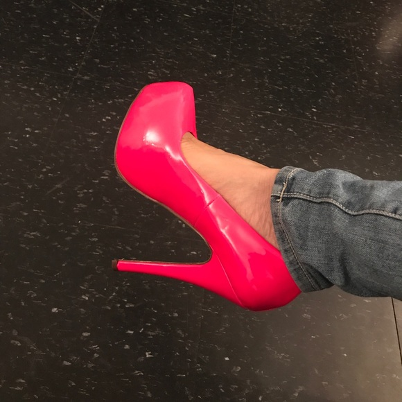 neon pink platform high heel shoes pumps 8 5 from