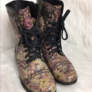 Steve Madden Floral Print Leather Combat Boots