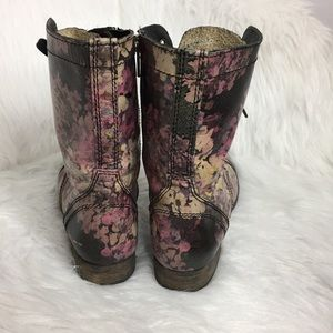 Steve Madden Shoes - Steve Madden Floral Print Leather Combat Boots