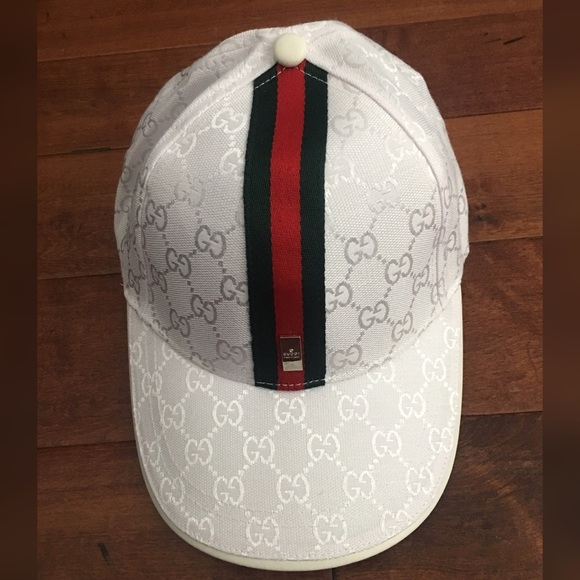 NEW GUCCI LUXURY WHITE GG GUCCISSIMA WEB LOGO FEDORA ... |White Gucci Hat