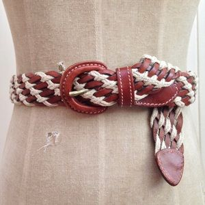 Vintage Accessories - [Vintage] Brown Leather and Canvas Braided Belt