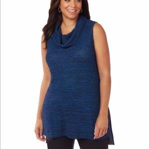 Catherines Sweaters - Catherines Sweater Blue Black Cowl Neck Sleeveless