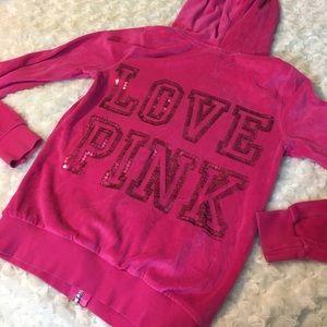 VS Pink Velour Sequin Zip Up