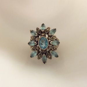 Jewelry - Sterling, Marcasite and Aqua Cocktail Ring