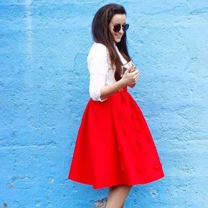 Red midi laser cut floral skirt