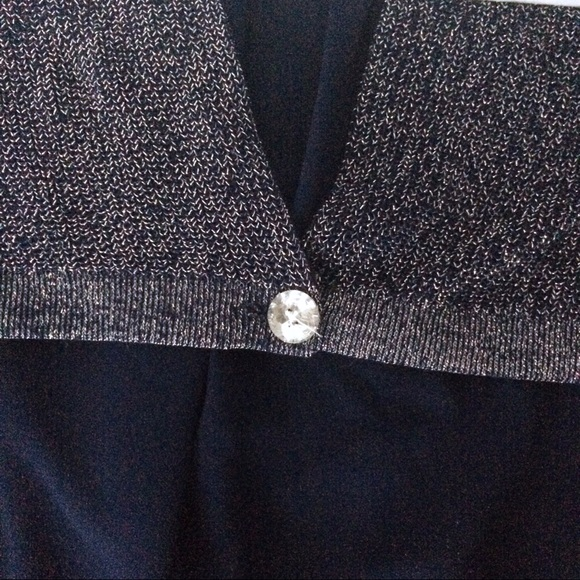 Dorothy Perkins Sweaters - Sparkly Navy Sleeveless Top w/ Unique Draped Back