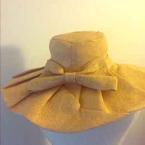 Accessories - Unique pleated straw floppy hat with bow 45514adaaa28