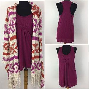 Ella Moss Tops - Ella Moss Slub T Back Shirt & Sweater Wrap Sz L
