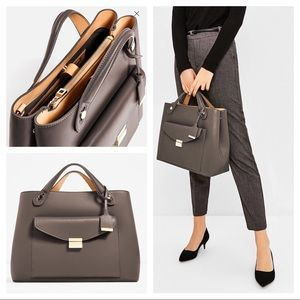 Zara basic grey city bag w/ contrast interior.