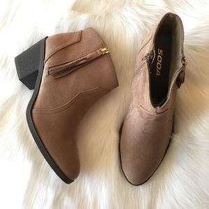 Soda Shoes - Soda Taupe Booties