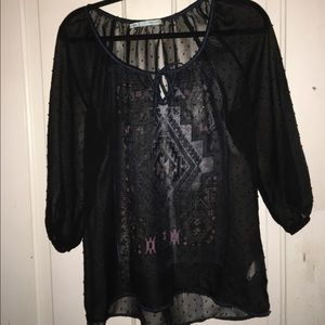 Maurices sheer black blouse - size large