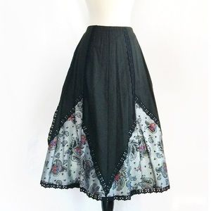 70s Vintage Beautiful Paisley Lace Skirt