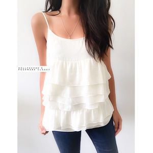 who what wear  Tops - NWT Silky Off White Ruffle Top