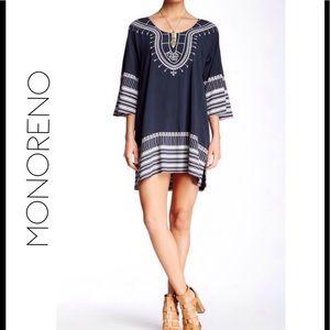 Monoreno Dresses & Skirts - Kimono Sleeve Border Print Dress / Cover Up
