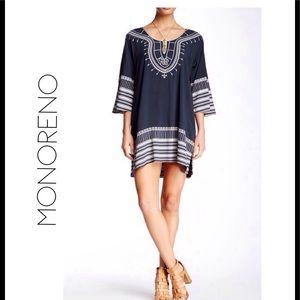 Kimono Sleeve Print Tunic Cover Up/ Mini Dress