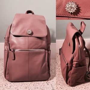 HM Leathercraft Handbags - Genuine Leather Front Flap Urban Backpack Purple