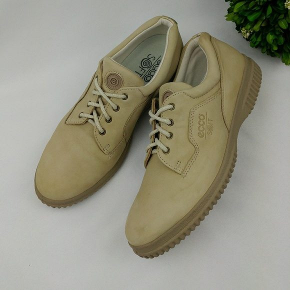 Ecco Soft Lace Up Oxford Casual Shoe Walking Beige