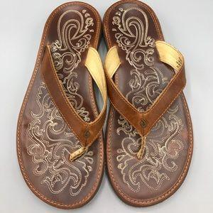 OluKai Shoes - Olukai Paniolo Flip Flops Brown Leather Women's 8