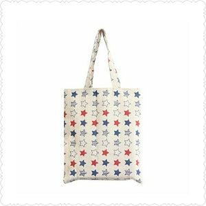 Red, white and blue star canvas tote