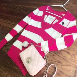 Abercrombie & Fitch Pink V-Neck Strip Sweater