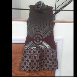 Custo Barcelona Abstract Velvet Print Dress Small