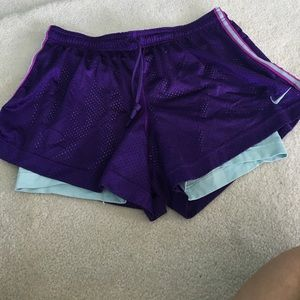 Nike dri-fit purple and teal shorts