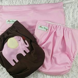 Other - Bundle of cloth diapers pink and brown. Kids