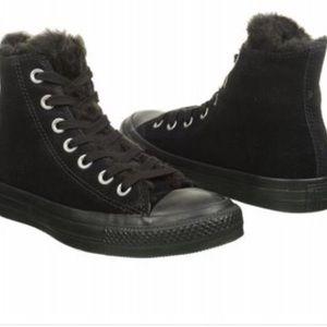 All Black Furry Converse Allstars
