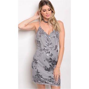 Gorgeous Gray Sequin Mini Dress