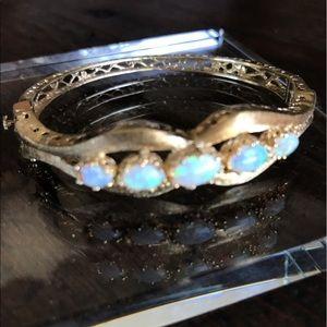 Jewelry - Antique Opal Gold Bangle Bracelet