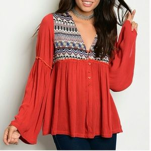 Threadzwear Tops - 🆕 Rust colored Embroidered Boho Top