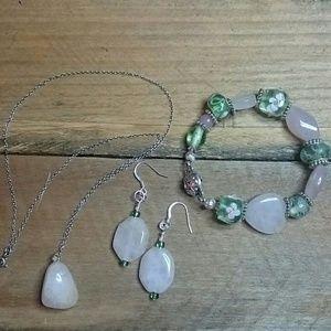 Rose Quartz Necklace,  Earrings, Bracelet Set