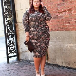 rebdolls Dresses & Skirts - Plus size floral long sleeve body con