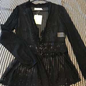 A'Reve Tops - NWT sheer black lace top