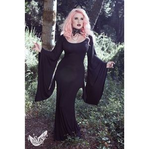 Goth Bell Sleeves Black Gown