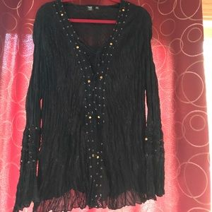 milano Tops - Hippie/peasant top w/ bling & bell sleeves size 3X
