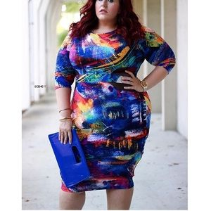 Dresses & Skirts - Plus size multi colored bodycon