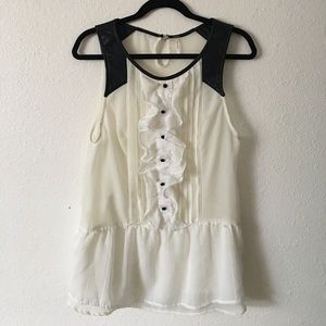 Free people off white blouse with faux leather