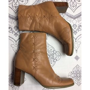 Shoes - Leather BOHO Ankle Booties in Camel leather