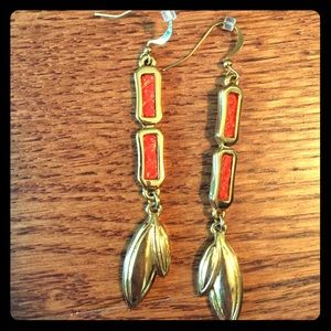 Jewelry - SALE!! Coral and gold earrings