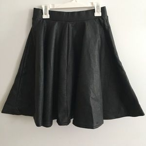  Black pleather circle skirt