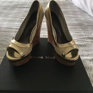 Adrienne Maloof Shoes - Gold and tan peep toe wedges